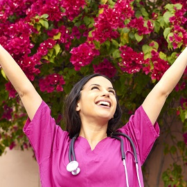 Excited Beautiful Young Female Nurse